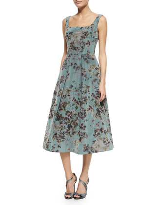 Floral Sleeveless Tea-Length Cocktail Dress, Multi