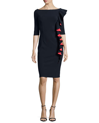 Selene Bicolor Ruffled Sheath Dress
