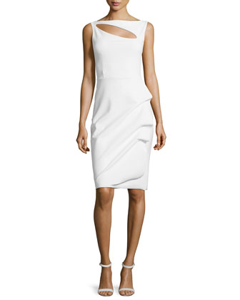 Angie Boat-Neck Keyhole Cocktail Dress, White