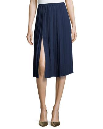 Pleated Midi Skirt, Indigo