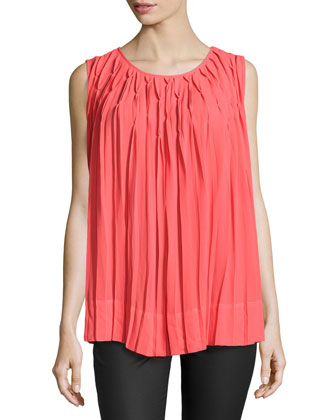 All-Over Pleated Tank Top, Bright Coral