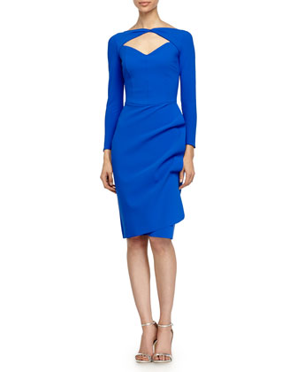 Arcadia Long-Sleeve Keyhole Cocktail Dress