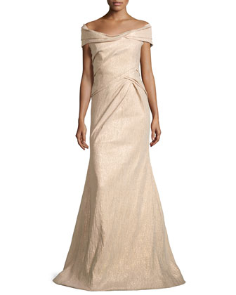 Off-the-Shoulder Metallic Gown, Champagne
