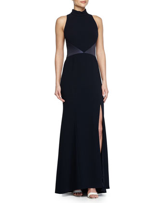 Contrast-Panel Back-Cutout Halter Gown