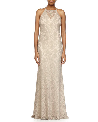 Lace Halter Fishtail Evening Gown