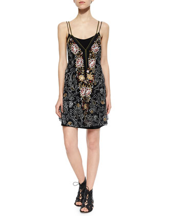 Embroidered Falling Flowers Dress, Black Combo