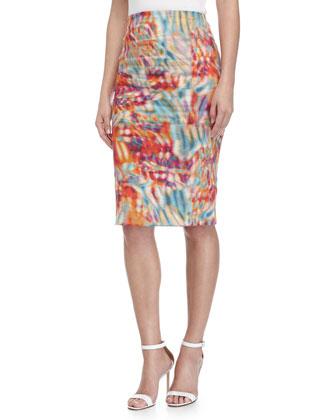 Floral-Print Pencil Skirt, Multi Colors
