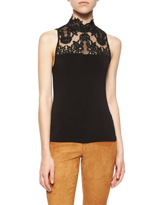 Riko Suede/Knit Tie-Waist Jacket, Madyson Lace-Neck Sleeveless Top & Suede ...