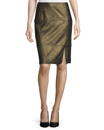 Pencil Skirt W/Curved Slit, Gold