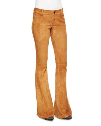 Suede Bell-Bottom Pants