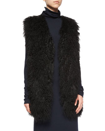 Winnifred Oversize Lamb-Fur Vest & Long-Sleeve Double-Slit Turtleneck Dress