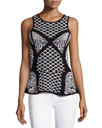 Sleeveless Geometric-Print Peplum Top, Black/White