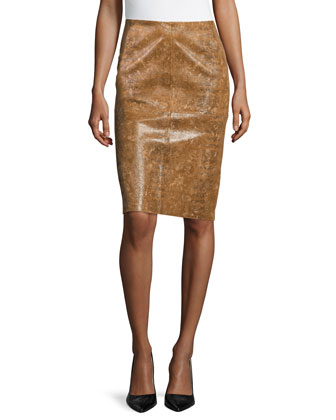 Modern Slim Leather Skirt, Ochre Multi
