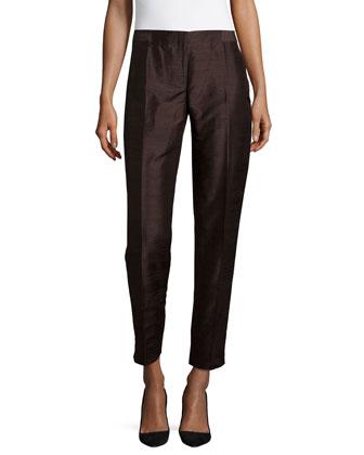 Slim-Leg Cropped Pants, Hazelnut