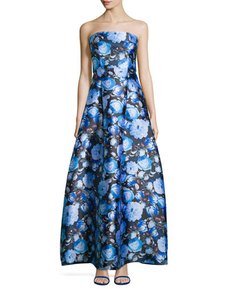 Strapless Floral-Print Ball Gown, Persian Blue