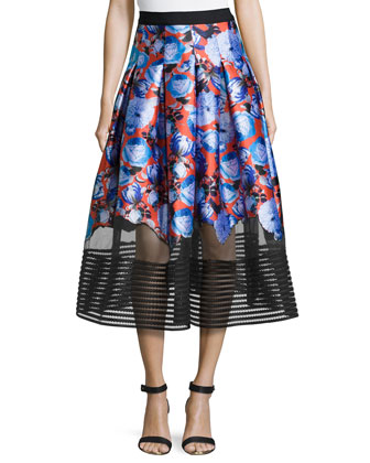 Floral-Print Tea-Length Skirt