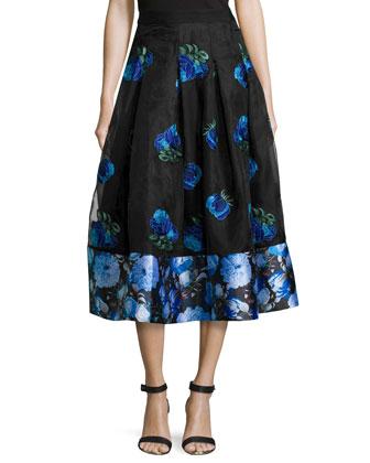 Mixed-Print Tea-Length Skirt