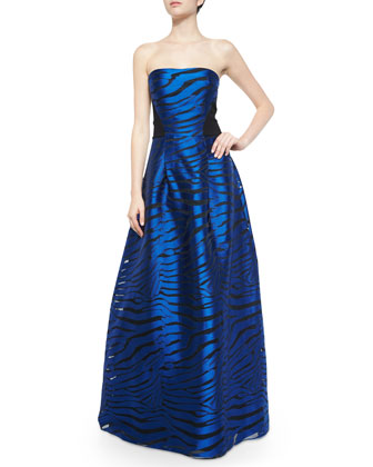Strapless Animal-Print Ball Gown, Cobalt