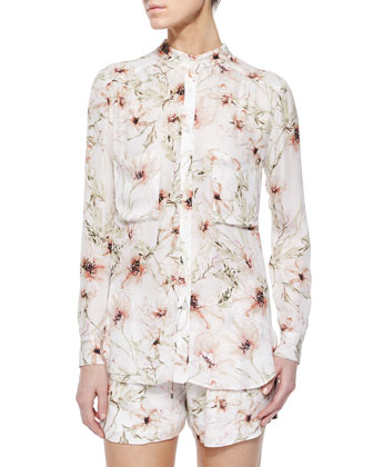 Long-Sleeve Floral-Print Blouse