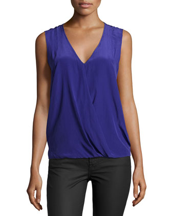 Sleeveless V-Neck Tank Top, Ultra Blue
