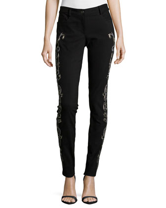 Embroidered Skinny-Fit Pants, Black/Silver