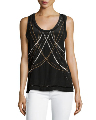 Embellished Body-Chain Tank Top, Black