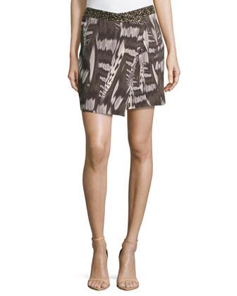 Printed Wrap Mini Skirt, Olive