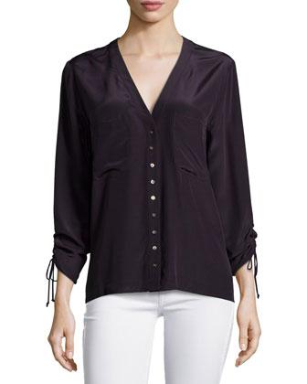 V-Neck Long-Sleeve Top, Dark Prune