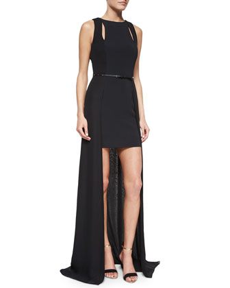 Sleeveless Belted High-Low Gown, Black
