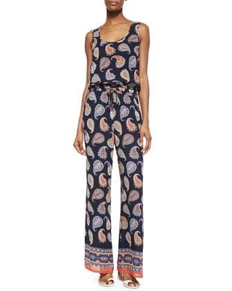 Sleeveless Paisley-Print Jumpsuit