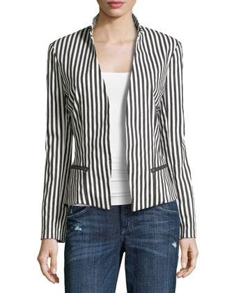Long-Sleeve Stripe Jacket, Black/Ivory