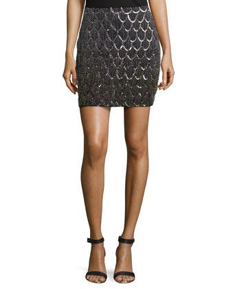 Scalloped-Beading Skirt, Black Multi