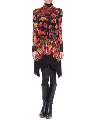 Long-Sleeve Turtleneck Rose & Feather Print Dress
