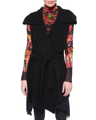 Sleeveless Belted Sweater Jacket