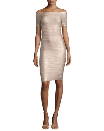 Carmen Bandage Cocktail Dress, Champagne Gold
