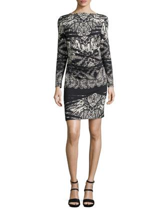 Printed Long-Sleeve Dress, Black/White
