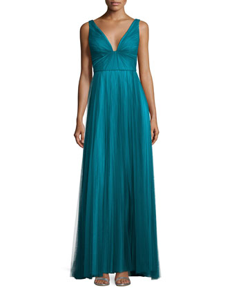 Sleeveless Ombred Tulle Gown