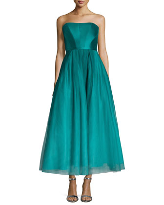 Strapless Ombred Tulle Tea-Length Gown