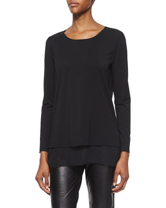 Layered-Hem Long-Sleeve Top, Black
