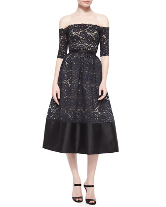 Off-the-Shoulder Lace Cocktail Dress, Black/Nude