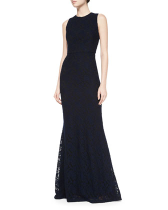 Roxie Lace Diamond-Back Dress, Navy/Black