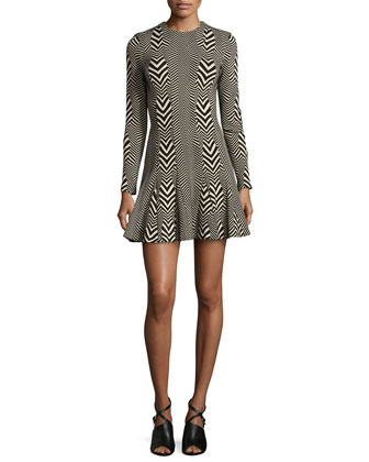 Amber Warped Herringbone Dress, Black/Khaki