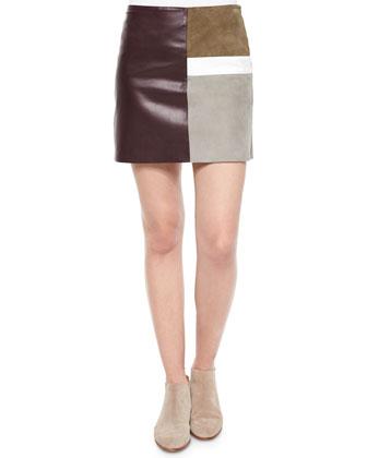 Bringam Sleeveless Silk Blouse & Shanrial Patchwork Combo Skirt