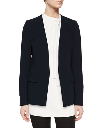 Niransi Long Collarless Crepe Blazer