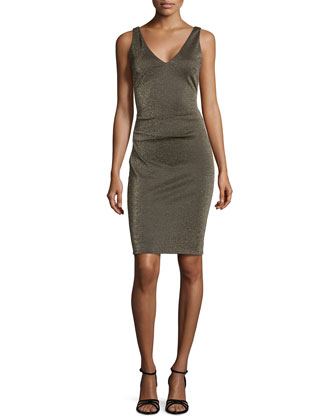 Sleeveless Metallic Ponte Dress, Gold