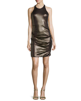 Racer-Front Jewel-Neck Sequin Dress, Black/Gold