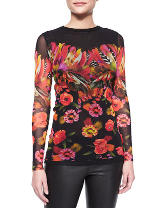 Long-Sleeve Floral & Feather Print Top