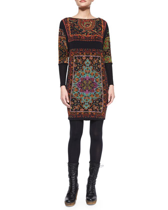 Long-Sleeve Boat-Neck Rug-Print Dress
