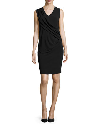 Gabi Sleeveless Draped-Front Sheath Dress, Black