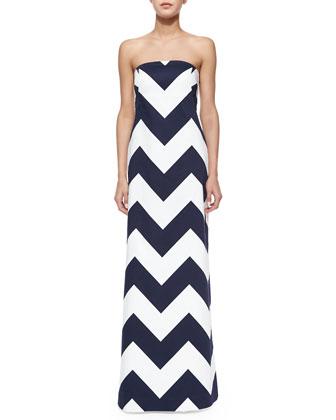 Blari Strapless Chevron-Stripe Gown